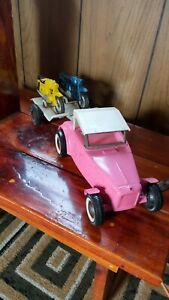 VINTAGE BUDDY L PINK ROADSTER WITH TRAILER AND MOTORCYCLES EXCELLENT CONDITION
