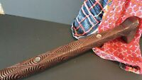 Old New Zealand Carved Wooden Walking Stick with Inlaid Paua Shell …beautiful st