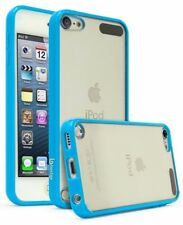 For iPod Touch 6th & 5th Generation Case, Slim Fit Bumper Clear Back TPU (Blue)