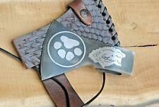 Custom Handmade Forged Tomahawk Style Head with Wolf logo and Leather Cover