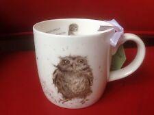 "Royal Worcester Wrendale ""What A Hoot"" Owl Bird mug cup New Fine Bone China"