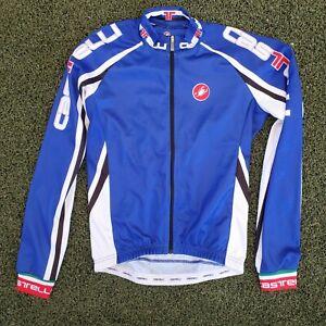 Castelli Cycling Jersey Long Sleeve Full Zip Jacket Men's Small S Blue White