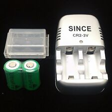 2 PCS UltraFire CR2 Rechargeable Battery + 1 PC Charger EL1CR2 RLCR2 KCR2 New