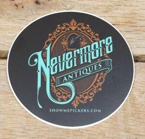 """3"""" Round Nevermore Antiques Logo Vinyl Sticker"""