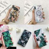 For iPhone 11 Pro Max XS XR 6s 7 8 Plus Flower Leaf Stand Holder TPU Case Cover