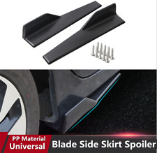 2pcs Stylish Matte Black Car Side Skirt Rocker Splitters Diffuser Spoiler Kit