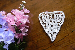 CROCHET Lace HEART  DOILY - Cotton WHITE -  Small Approx  8x9cm EACH