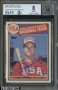 1985 Topps Tiffany #401 Mark McGwire USA RC Rookie BGS 8 BGS BAS 10 AUTO