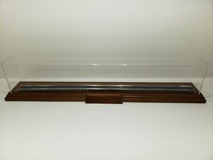 "TRAIN DISPLAY CASE VERY GOOD CONDITION BASE: 38 1/4"" X 6"" COVER: 36"" X 4"" X 6"""