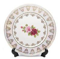"""Royalty Porcelain Set of 6 """"Vintage Floral Rose"""" Dinner Plates, 24K Gold Bone"""