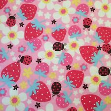 Lady Bug Flannel Fabric Strawberry Girl's Pink Flower Power by Hancock 1 1/4 Yd