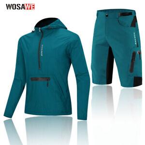 Cycling Jersey & Shorts Outfit Bike Kit Hooded Jacket Casual Pants Racing Mens