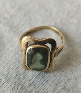 Ring - Altgold 333 mit Spinell grün - Größe 54 - 3 g - Stein 9,5x8 mm