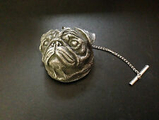 Pug Head Dog Pewter Effect Animal Emblem On a Tack Tie Pin