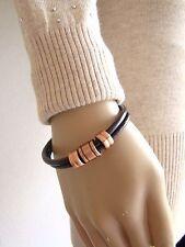 """Bracelet mixte """"LD ESE"""" 2 rangs cordon marron et pampilles en métal cuivré"""