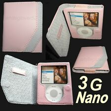 $25 BELKIN Leather Folio Case~3rd Gen 3G Apple IPOD Nano~ Pink ~ Protects ALL !