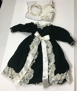 Vintage Doll DRESS  Dark Green w/Lace Ruched Sleeves