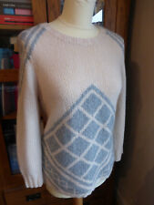 BNWT J. Crew hand knit tile sweater jumper M 10 12 NEW cashmere chunky