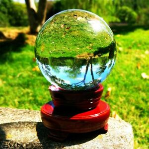100mm Glass Clear Crystal Ball Magic Healing Sphere Photo Decor Prop +Stand Home