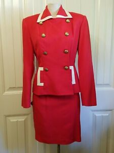 Ann Taylor suit women Red White trim size 4 Double breasted Gold crested buttons