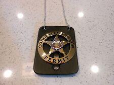 Vintage Concealed Weapon Badge Emblem Gold Color & Neck Chain Holder - NO PIN