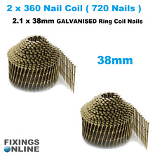 Coil Nails (conical)Galvanised 2.1 g x 45mm (2 x coils 720 nails), Hitachi, Max