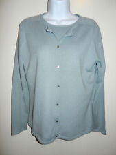 BANANA REPUBLIC 100%CASHMERE BLUE/GRAY TWINSET CARDIGAN&SHORT SLEEVE SWEATER M/L