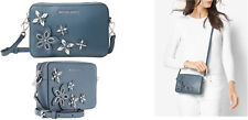 Michael Kors Flowers Pouches Medium Blue Leather Camera Denim Bag $198