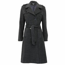 Ladies Wool Coat Womens Long Jacket Double Breasted Belt Outerwear Trench Winter