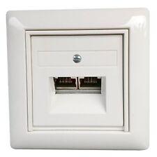 Netzwerkdose Cat.6 mit GIRA System 55 Abdeckung cremeweiß glänzend