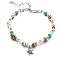 Women Boho Beach Starfish Turquoise Beads Pendant Chain Anklet Bracelet Anklet