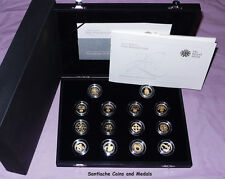 2008 ROYAL MINT GOLD SILHOUETTE £1 SILVER PROOF SET - 14 COINS - FULL PACKAGING
