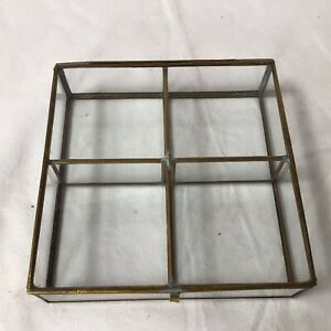 Small Table Top Collectors Glass Display Case Brass Colour Metal Bound Sectioned