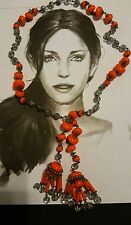 Rare 1930s Early Miriam Haskell Murano Glass Italian  Beads Lariat Necklace