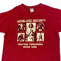 Vintage Native American Homeland Security 2 Sided T-Shirt Men's Size L Faded Red