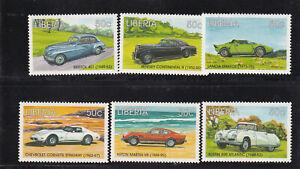 LIBERIA Scott 1387 a-f 1998 Luxury Sports Cars set of 6 MNH