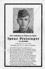 STERBEBILD   AVIS DE  DECES  SOLDAT  ALLEMAND  BOSNIE  1944      ( 168 )