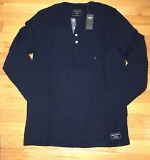 NWT Abercrombie & Fitch Men Long Sleeve 100% Cotton Henley T Tee Shirt M Navy