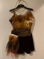 Girls gold animal print leotard dance costume jazz, with gold strap headband.