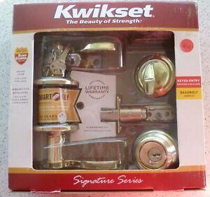 Kwikset Keyed Entry Lever & Single Cylinder Deadbolt Comb:  Pol Br: 99910-039