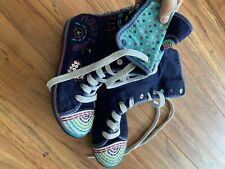 Naartjie HighTop Fold Down Happy Navy Shoes Boots Embroidery Gems Youth Size 1