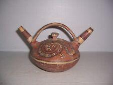 Pre-Columbian Peru Huari Snake Pottery Double Spout Stirrup Vessel