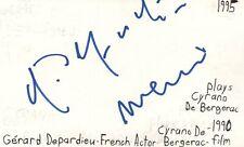 Gerard Depardieu French Actor Cyrano De Bergerac Autographed Signed Index Card