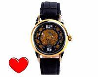 Sonder Aktion: CЛABA Automatik Uhr (177) Bicolor, Lederarmband - tolle Damenuhr