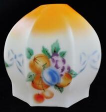 Antique Hand Painted Glass Boudoir Table Lamp Shade Fruit and Bows Motif Hexagon