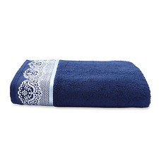 STUNNING ~ CANNON DARK NAVY BLUE SILVER SCALLOPED LACE LOOK BATH HAND TOWEL NWT