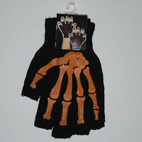 Goth Punk Gothic Psychobilly Orange Skeleton Bones fingerless Mens Black Gloves