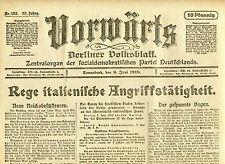 VORWÄRTS (8. Juni 1918): Rege italienische Angriffstätigkeit