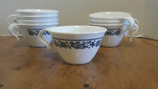 Vintage Corelle Blue Onion Old Town Cups set of 8, Corning Livingware USA 70s