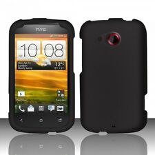 For Cricket HTC Desire C Rubberized HARD Case Snap On Phone Cover Black